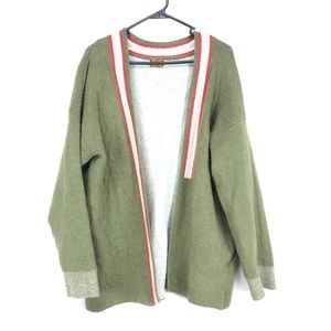 POL oversized green red cardigan sweater XL